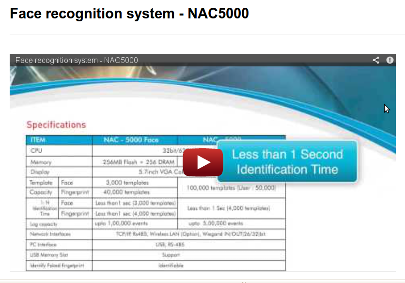 Face recognition system – NAC5000