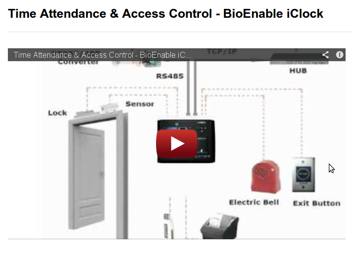 Time Attendance & Access Control – BioEnable iClock